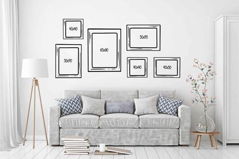 Composición 6 cuadros grandes distintos formatos