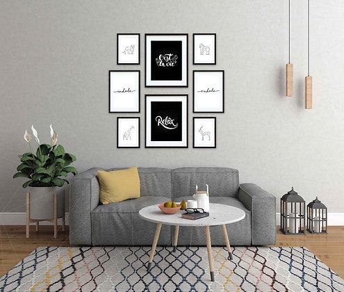 GIFTCARD Composición 8 cuadros Marco Blanco/Negro