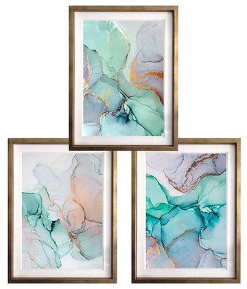 Abstracción acuarelada turquesa (3 diseños disponibles) / Desde 35.000 c/u