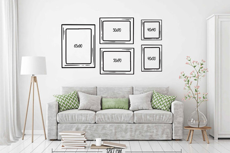 Composición 5 cuadros grandes distintos formatos
