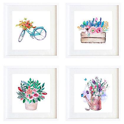 Acuarelas jardín (4 diseños disponibles) / Desde 20.000 c/u