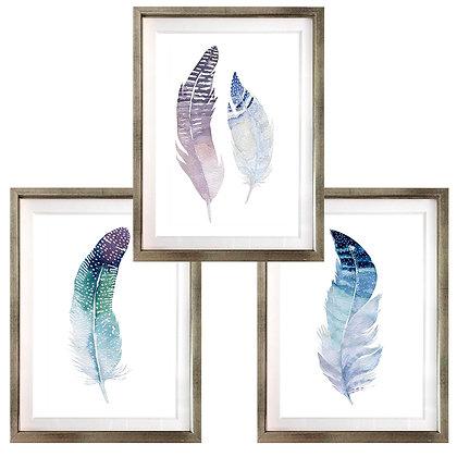 Plumas morado, azul y verde (3 diseños disponibles) / Desde 20.000 c/u