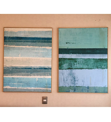 Set 2 canvas 102x77 Perfil de madera