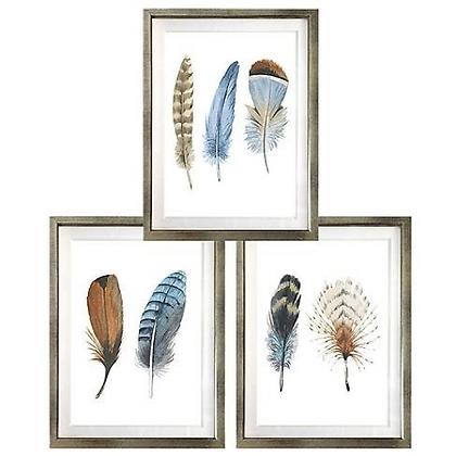 Plumas en celeste y café (4 diseños disponibles) / Desde 20.000 c/u