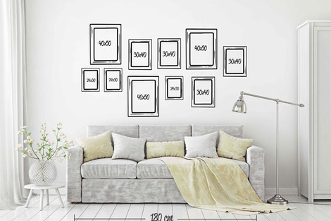 Composaición 10 cuadros distintos tamaños