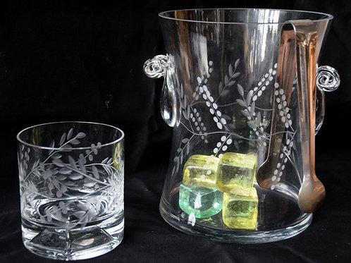 Hielera tallada con 6 vasos de whisky tallado
