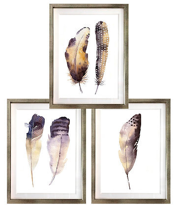Plumas acuareladas (3 diseños disponibles) / Desde 23.000 c/u