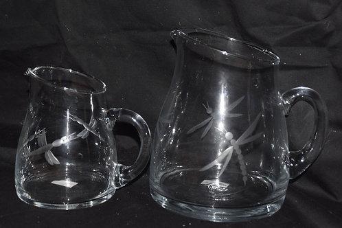 Set 2 jarros diagonal tallado