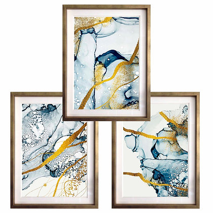 Acuarelados en azul y oro (3 diseños disponibles) / Desde 35.000 c/u