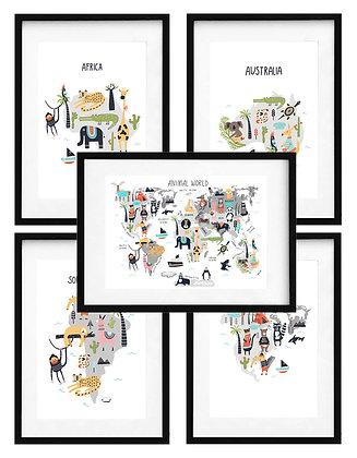 Continentes y mapa (5 diseños disponibles) / Desde 20.000 c/u