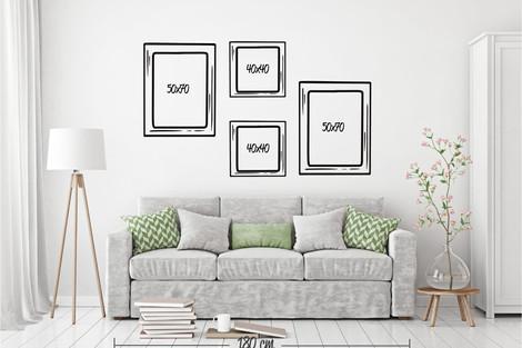 Composición 4 cuadros 50x70 y 40x40