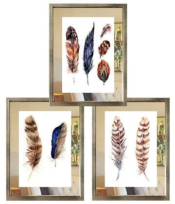 Plumas étnicas paspartú espejo (3 diseños disponibles) / Desde 35.000 c/u