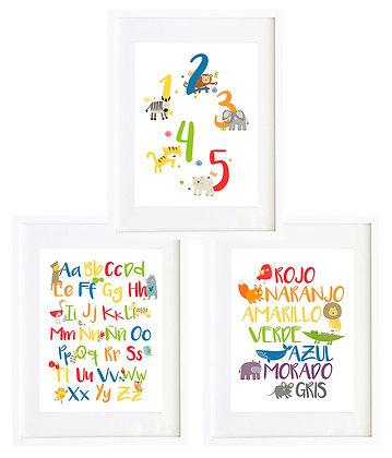 Colores, números y letras (3 diseños disponibles) / Desde 20.000 c/u