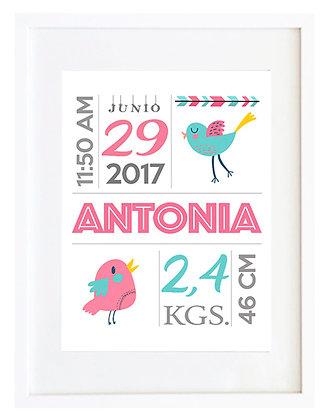 Personalizable nacimiento rosa/sandía y turquesa / Desde 20.000