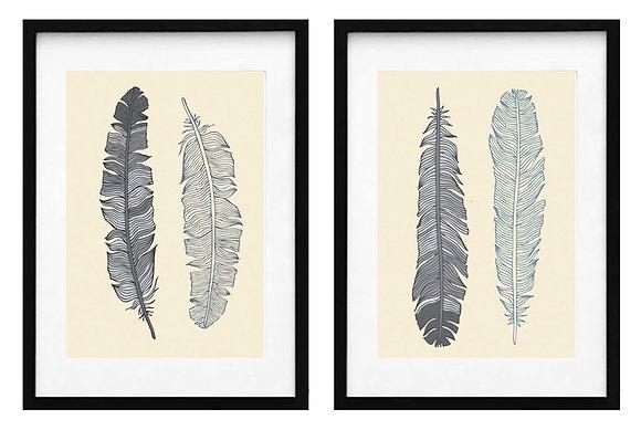 Plumas gris y beige (2 diseños disponibles) / Desde 20.000 c/u