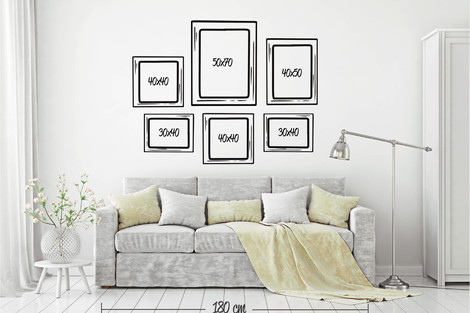 Composición 6 cuadros distintos formatos