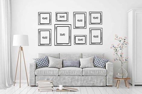 Composición 8 cuadros distintos formatos