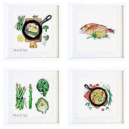 Acuarelas comida (8 diseños disponibles) / Desde 20.000 c/u