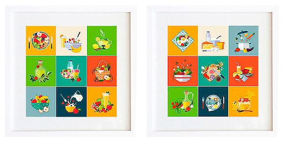 Comida cuadrados color (2 diseños disponibles) / Desde 20.000 c/u