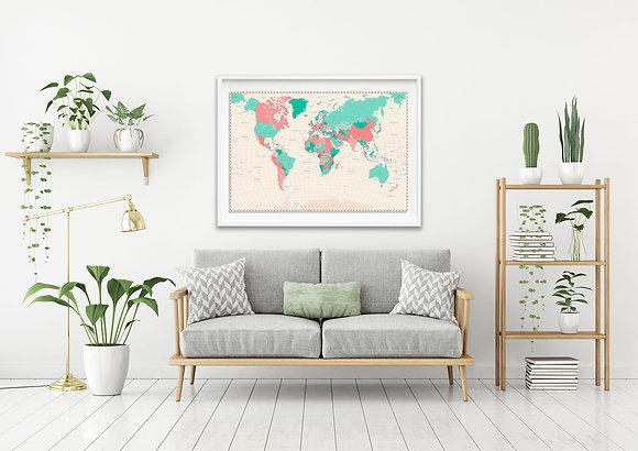 Mapa pineable menta y rosa / Desde 75.000