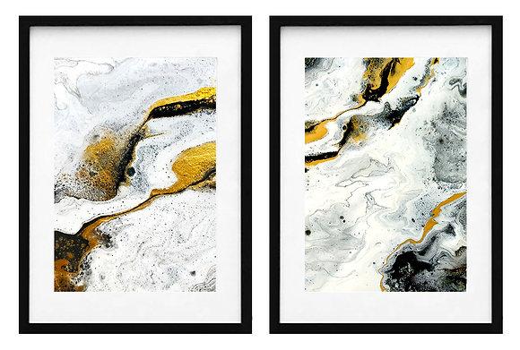 Abstracción en negro, dorado y blanco (2 diseños disponibles) / Desde 20.000 c/u