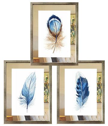 Plumas beige y azul paspartú espejo (3 diseños disponibles) / Desde 35.000 c/u