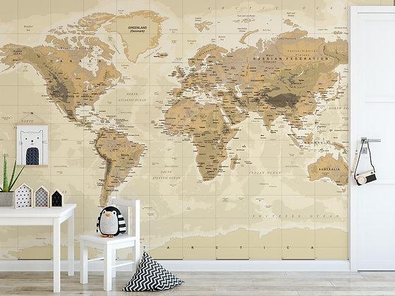 Papel Mural Mapa Sepia