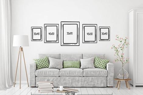 Composición 5 cuadros 3 formatos