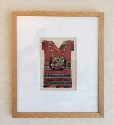 Camiseta étnica peruana 37x48 Marco madera