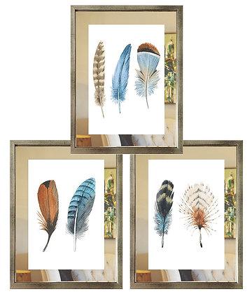 Plumas celeste y café paspartú espejo (3 diseños disponibles) / Desde 35.000 c/u