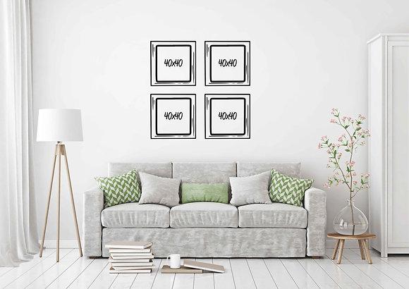 Set 4 cuadros 40x40 / Diseño a elección