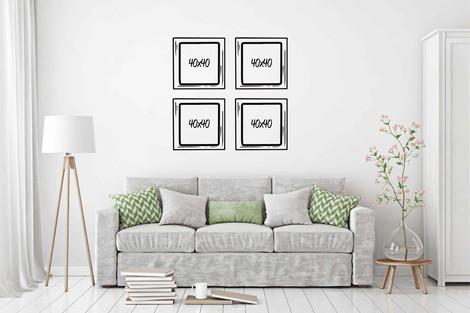 Set 4 cuadros 40x40 diseño a elección