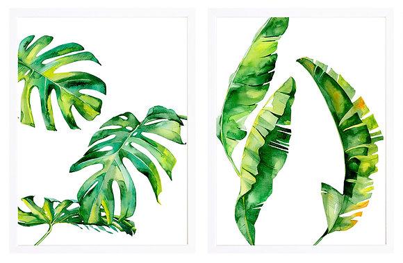 Hojas tropicales grandes blanco (2 diseños disponibles) / Desde 23.000 c/u