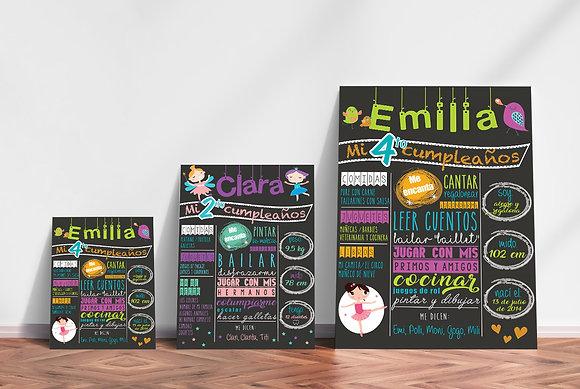Board cumpleañero niña / 2 diseños disponibles / Desde 26.000