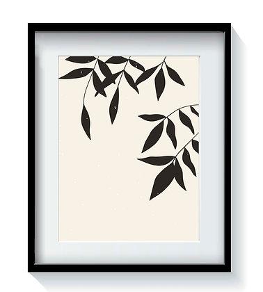 Xilografía Minimal II 50x70 marco negro encajonado