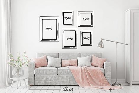 Composición 5 cuadros formatos variados