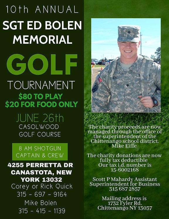 10th Annual Golf Tournament SGT Ed    Bo