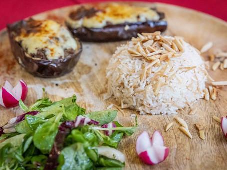 Aubergines grecques et riz libanais