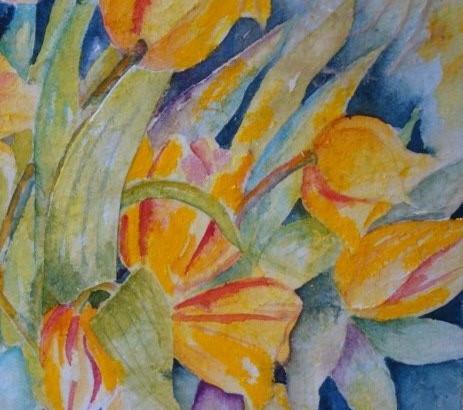 """Yellow Tulips, 16"""" x 20"""" Mixed media"""