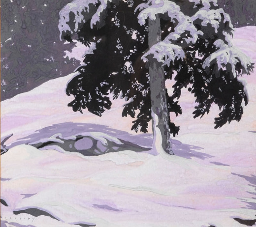 George Cassidy, Untitled (Snoey Winter Scene with Cedar)