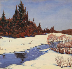 George Cassidy, Untitled (stream and fir trees)