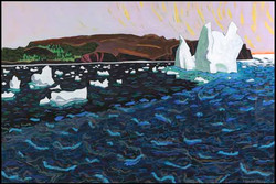 Anne M Barry, Iceberg and Growlers off Witless Bay Beach