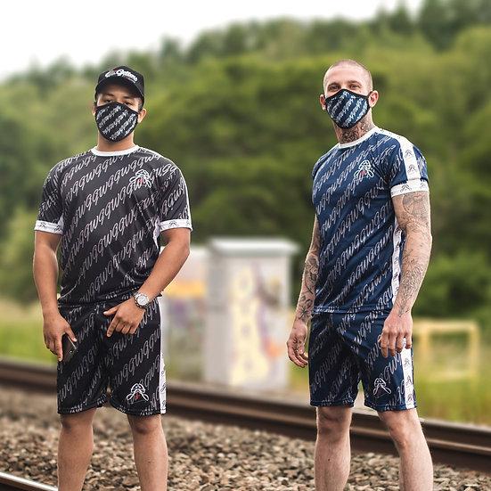 MK1 T恤和短褲套裝(黑色和藍色)