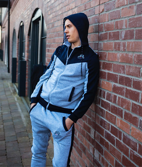 SS21 Tracksuit Set - Light Grey & Navy Blue