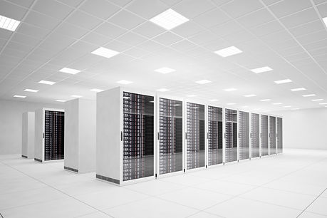 racks of processors in a data center