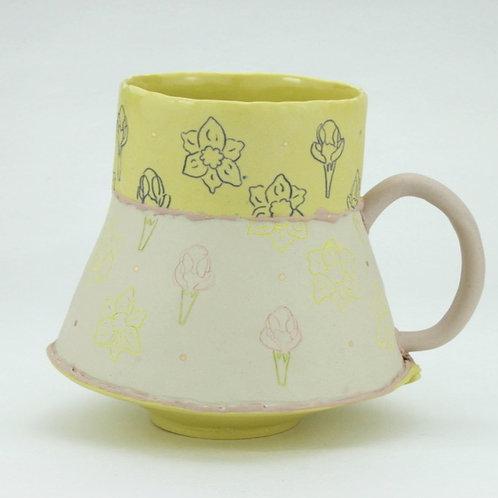 two toned crocus and daffodil mug