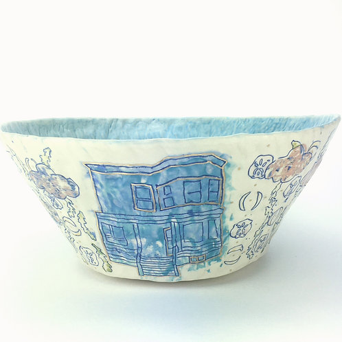 blue house serving bowl