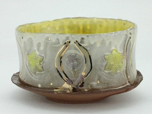 medium red crocus and daffodil bowl