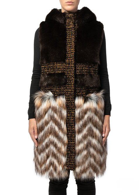 Gilet lungo in pelliccia ecologica (Faux fur waistcoat)