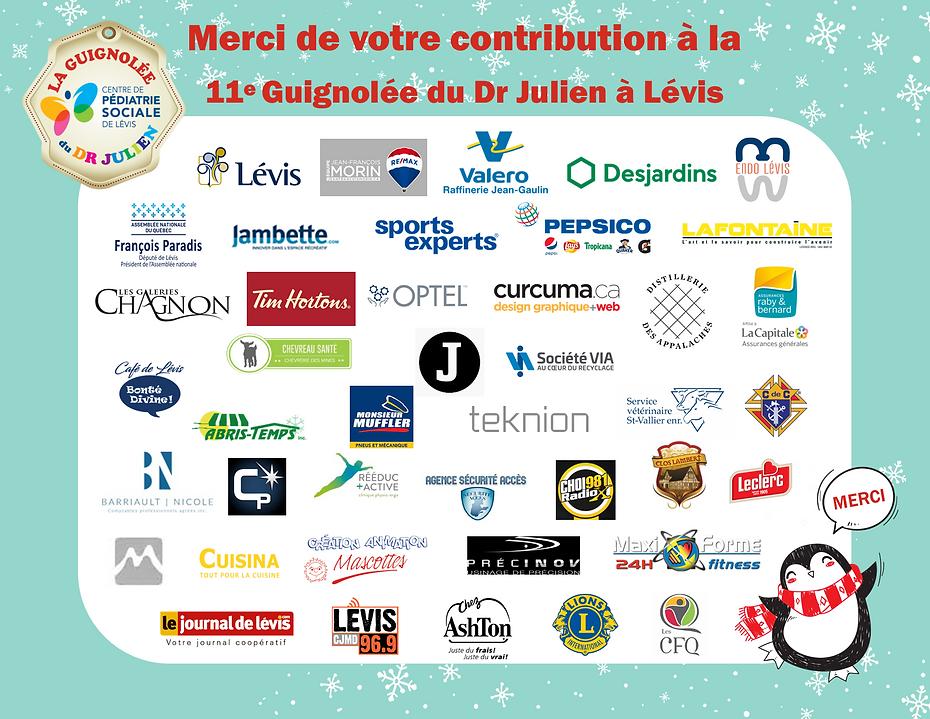 Entreprises remerciées - Guignolée 2020.